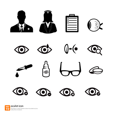 eye exams: Doctor medical oculist icon vector