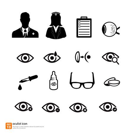oculista: M�dico oculista m�dica icono vector