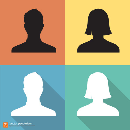 shadow people: Set of Silhouette people man and woman avatar profile pictures with shadow on color vintage background Illustration