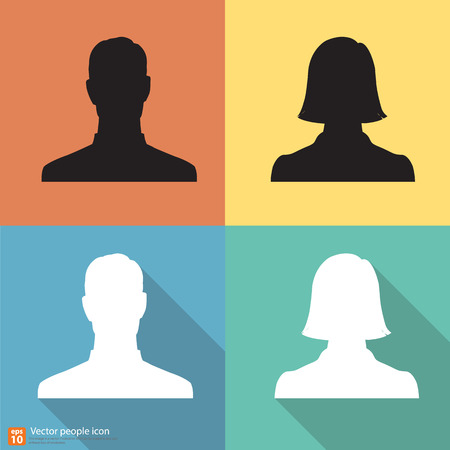 profile picture: Set of Silhouette people man and woman avatar profile pictures with shadow on color vintage background Illustration