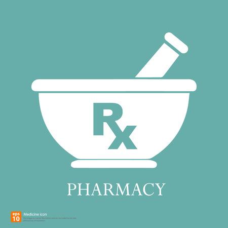 mortero: Nueva Rx medicina midical signo vector Vectores