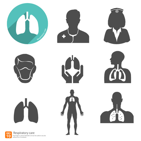 respiratory system: respiratory icon vector with shadow Illustration