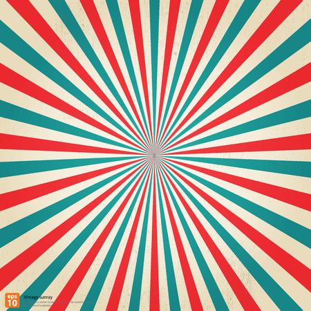 Nieuwe vector Vintage Festival rijzende zon of in de zon ray, zon barstte retro achtergrond ontwerp