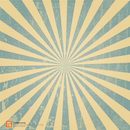 Nieuwe vector vintage blauwe rijzende zon of in de zon ray, zon barstte retro achtergrond ontwerp Stock Illustratie