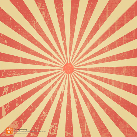 New vector Vintage Red rising sun or sun ray,sun burst retro background design Vector