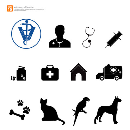 New silhouette veterinary icon with pet shop Vector