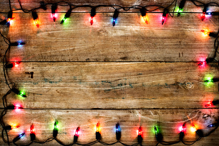 christmas colorful light background, rustic wood texture and free text space