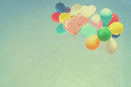spaciousness: vintage heart balloon on blue sky concept of  happy birth day with love in summer and valentine, wedding honeymoon party Stock Photo