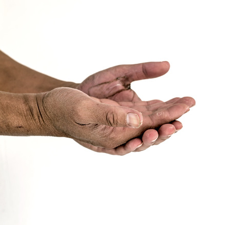 chimney sweep: Isolate photo of dirty man hands Stock Photo