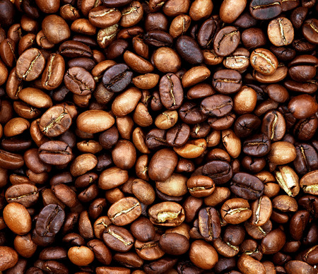 coffea: roasted coffee beans, used as a background Stock Photo