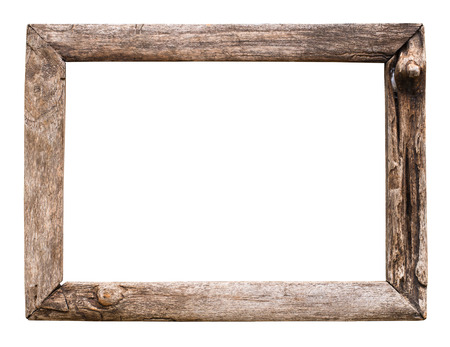 old wood picture frame isolate on white