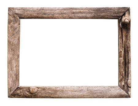 marco madera: viejo marco de madera aislado en blanco Foto de archivo