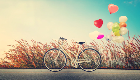 red balloon: bicycle vintage with heart balloon on wild flower field and blue sky concept of love in summer and wedding honeymoon Stock Photo
