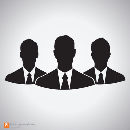 recruit suit: Teamwork of  businessman silhouettes vector icon
