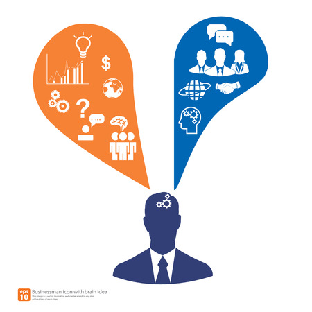 brain work: Silhouette Businessman thinking idea of work with business icons vector as a brain - business finance idea and innovation concept Illustration