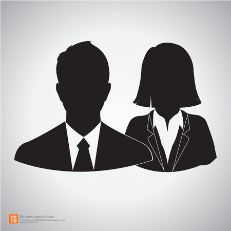 duo: teamwork or partner of man and woman ,couple business people icon vector