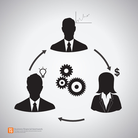 business woman: Relationship of Business People icons teamwork connection with arrows, finance concept