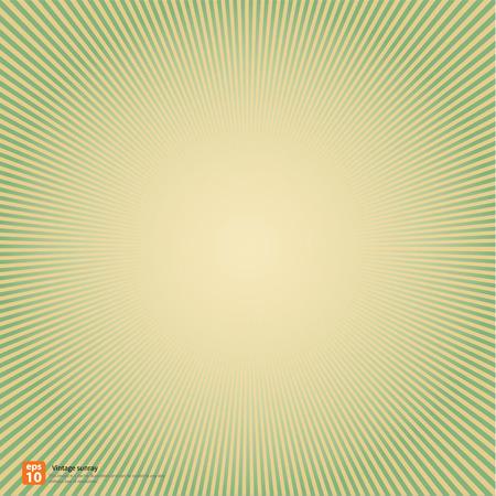 rayos de sol: Nuevo vector Vintage sol naciente verde o rayo de sol, sol irrumpieron diseño retro fondo