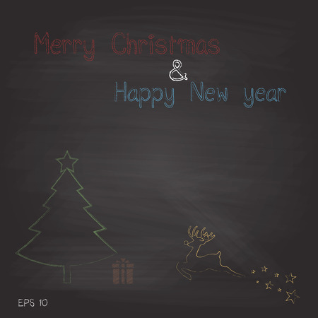New merry christmas and happy new year on chalkboard background vector design Vector
