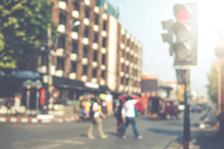 blurred people: vintage blurred background, people walking on street in city, instagram effect Stock Photo