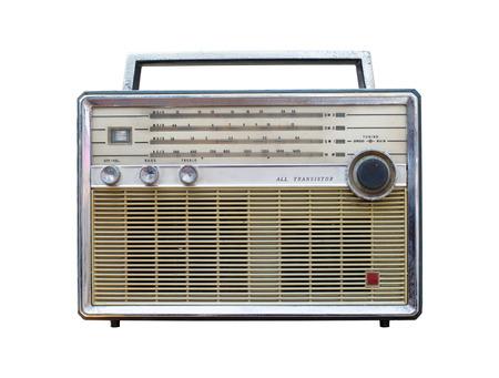 shortwave: Vintage Radio isolate on white ,retro technology