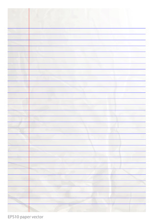 college ruled: paper line be crumpled vector format