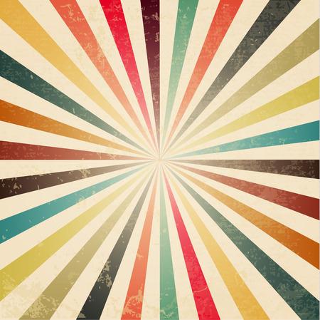 Nieuwe vector Vintage kleurrijke rijzende zon of de zon straal, zon barstte retro achtergrond ontwerp