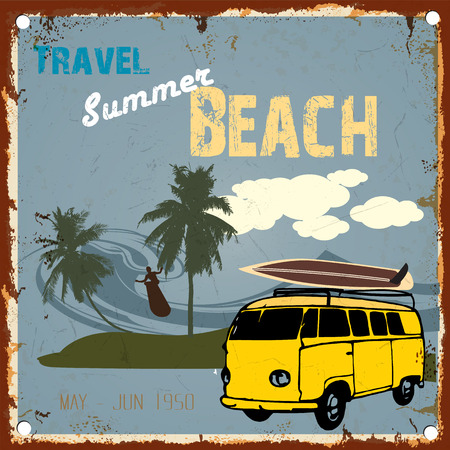 Vintage card - Travel summer beach surfing zone with classic car-vector