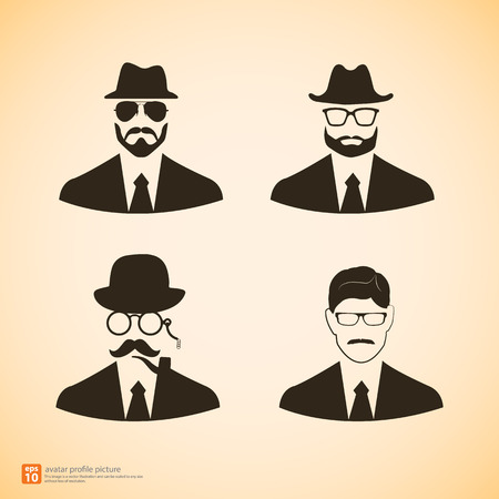 profile picture: Vector Businessman icon avatar profile picture hipster vintage style