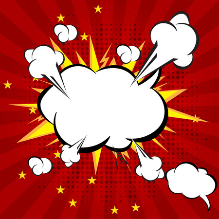 Cartoon, Boom explosion Comic Speech Bubble Illustration
