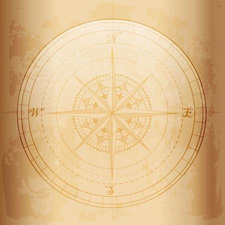 Vintage kompas, oud en grunge effect vector design