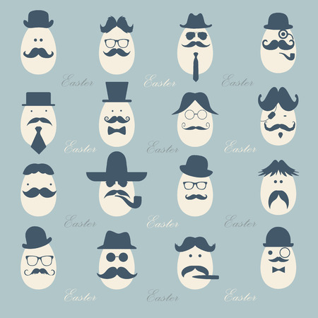Hipster Easter eggs gentlemen dressed as a  businessman pattern for easter day vector design, vintage color tone