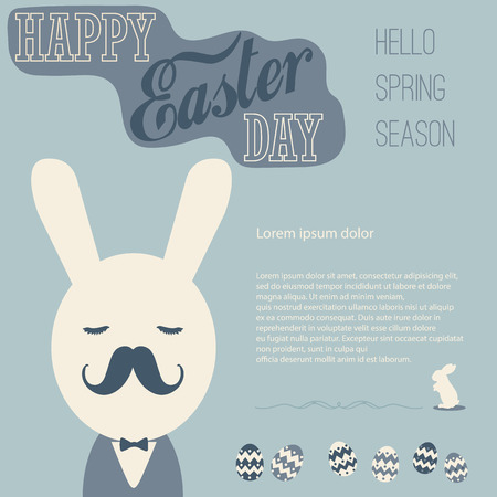 vecter: Vintage Easter card, Hello spring season and business bunny  with Space for text editing vecter design
