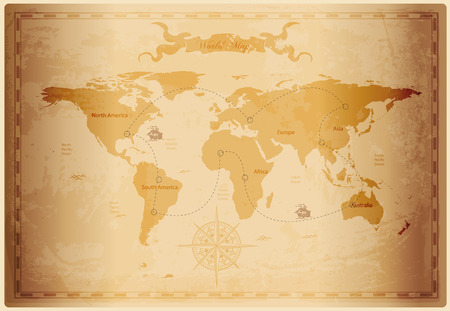north: Old World map with vintage paper texture vector format Illustration