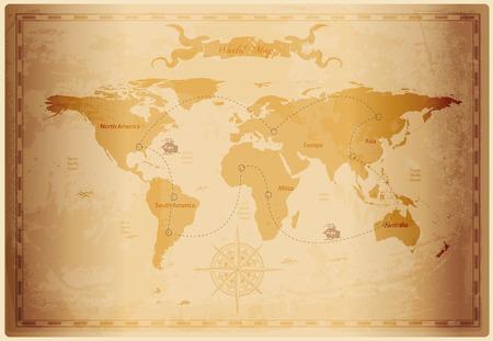Oude wereldkaart met vintage papier textuur vector-formaat
