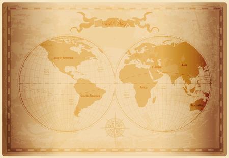 Carte du monde Old au format vectoriel vintage texture du papier Illustration