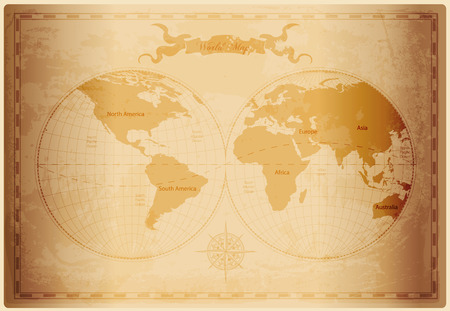 brown paper: Old World map with vintage paper texture vector format Illustration