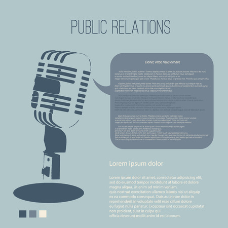 vecter: Vintage microphone public relations with Space for text editing vecter design Illustration
