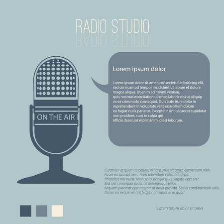 vecter: Vintage microphone radio studio with Space for text editing vecter design