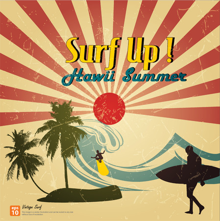 新しいベクトル ビンテージ カード - 太陽が昇ると太陽光線、hawii 夏のビーチをサーフィン太陽バースト レトロ