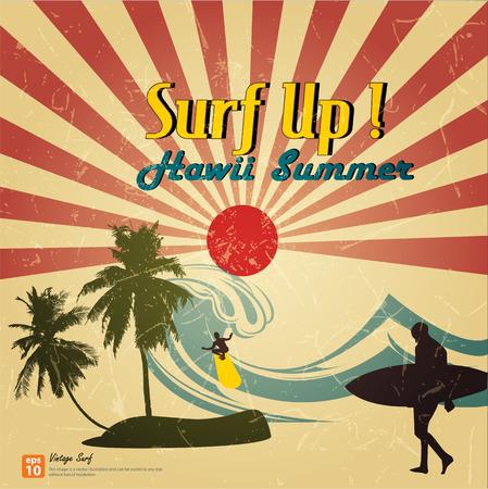 Nuova scheda vettoriale Vintage - navigare fino Hawii spiaggia di estate con il sole che sorge o raggio di sole, sole scoppio retrò