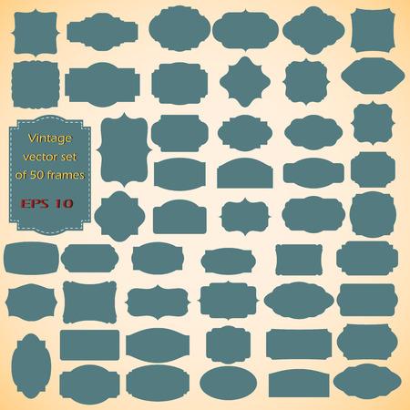Vector meg a Vintage keretek, üres retro jelvények és címkék