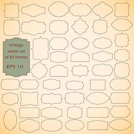 Vector set of  Vintage frames, blank retro badges and labels Illustration