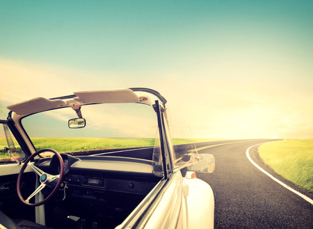 car concept: Vintage Journeys with classic car concept of love in summer and wedding honeymoon Stock Photo