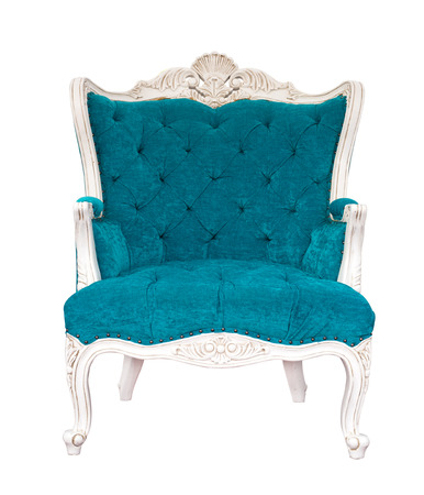antique chair: isolated vintage azure armchair classical style sofa with clipping path