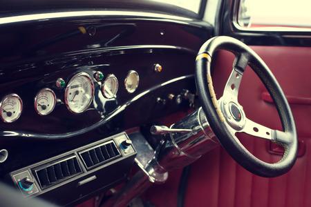 vintage car: Interior of vintage car