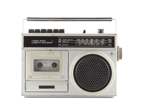 Vintage Radio isolate on white Stock Photo