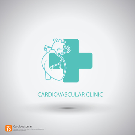 detail of heart muscle: Cardiovascular clinic symbol with shadow  Illustration