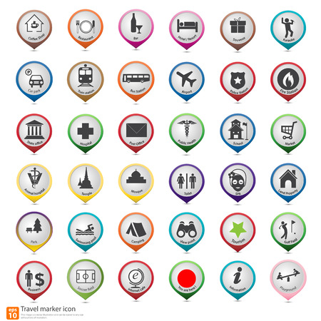 Travel marker map icon  Vectores