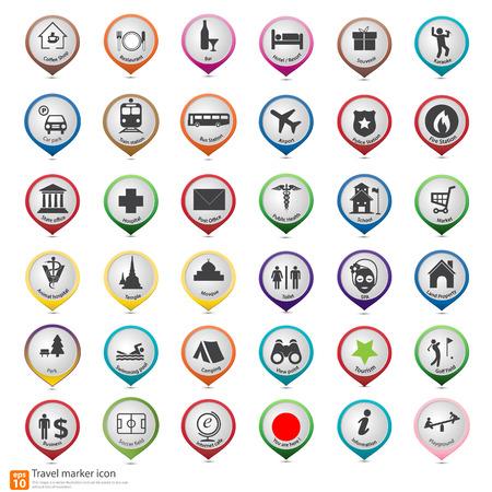 Mapa de viaje marcador icono Vectores
